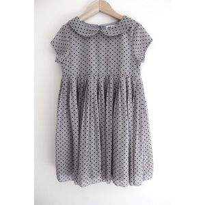 • H&M GIRLS GREY POLKA DOT COLLAR DRESS SZ 5 •